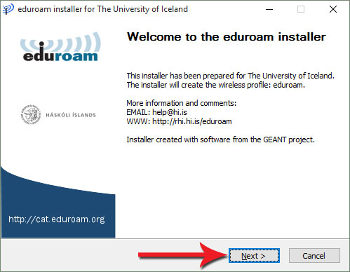 Welkome to the eduroam installer