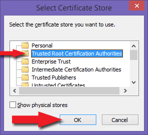 Select Certificate Store