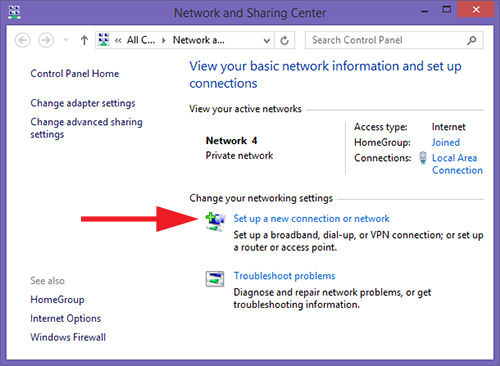 Set up a new connection or network