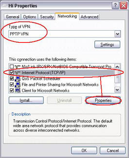 VPN properties - Networking
