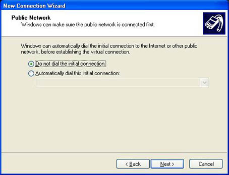 Public Network - Do not dial the initial connection