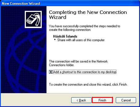 Completing the new Connection Wizard