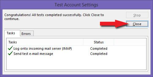 Test Account Settings - Close