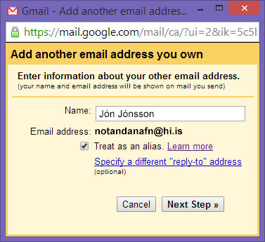 Enter information about your other email address