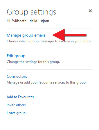 "Smelltu á ""Manage group emails"""