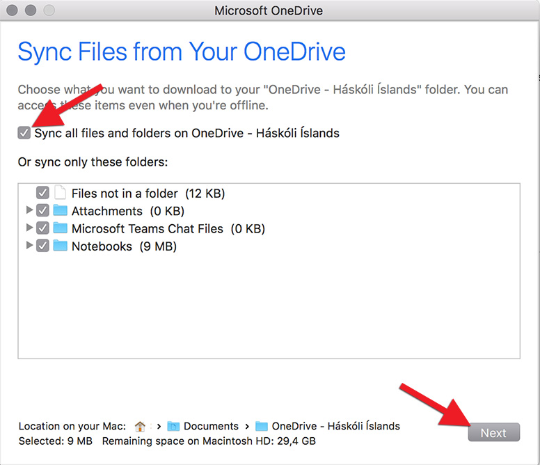 OneDrive - Install on MacOS | Upplýsingatæknisvið Háskóla