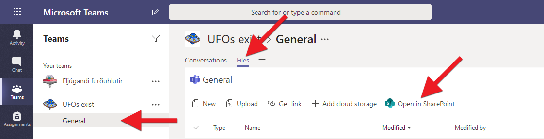 Choose the channel which files you want to see on your computer