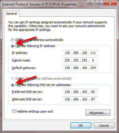 IP address and DNS server