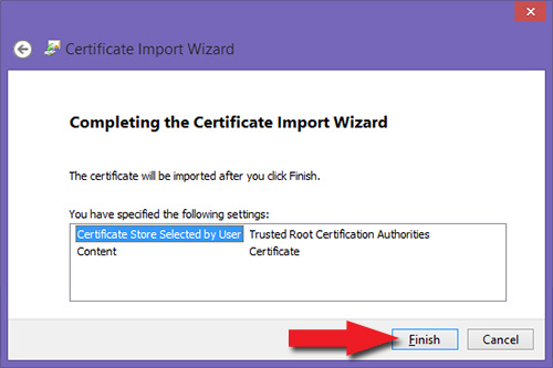 Compleating the Certificate Import Wizard