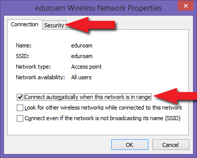 eduroam Wireless Network Properties