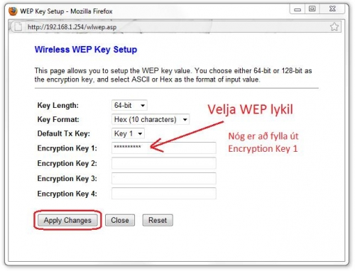 Wireless WEP Key Setup