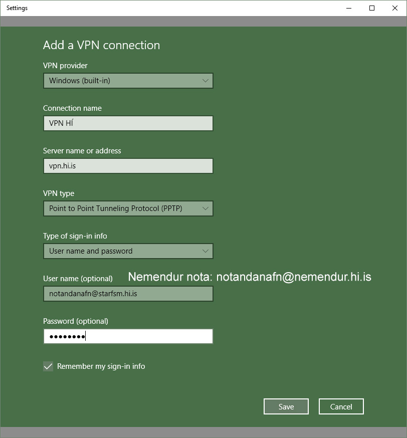 VPN connection settings