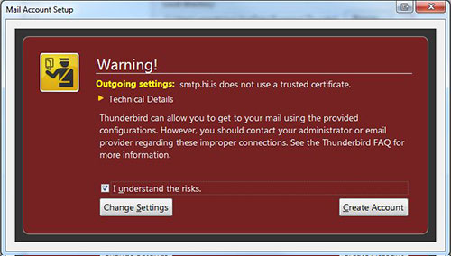 Warning - Outgoing settings