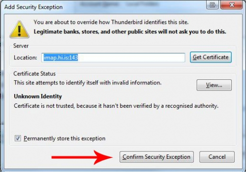 Add Security Exeption