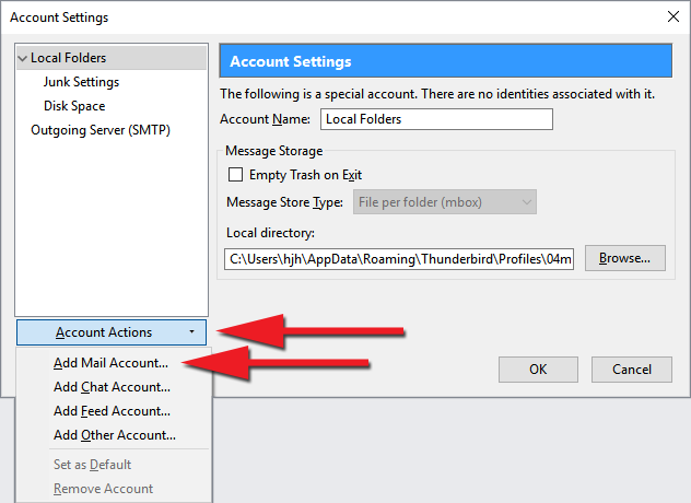 "Smelltu á ""Account Actions"" og veldu ""Add Mail Account"""