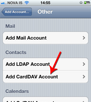Add CardDAV Account