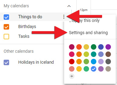 "Smelltu á punktana þrjá og veldu ""Settings and Sharing"""