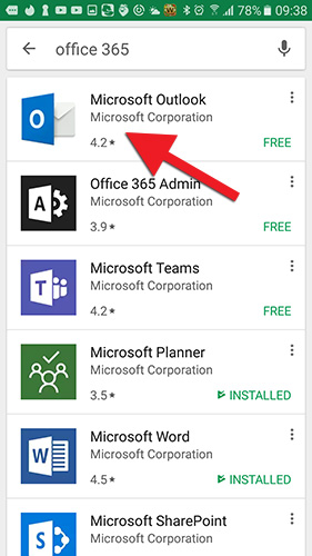 Finnið Microsoft Outlook í Google Play