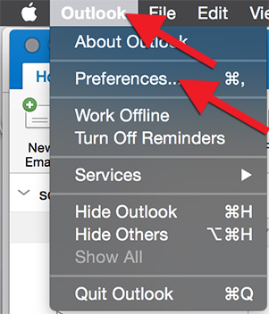 "Smelltu á ""Outlook"" og svo ""Preferences"""