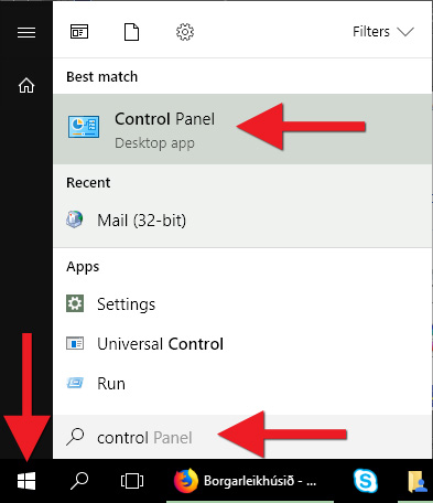 Smelltu á Windows merkið og opnaðu Control Panel