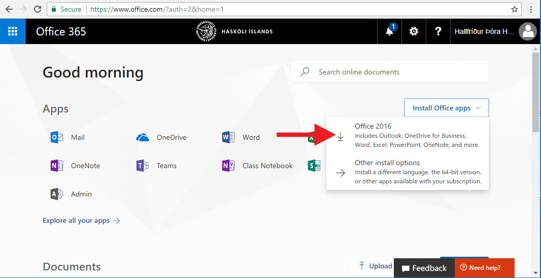 Smelltu á Office 2016