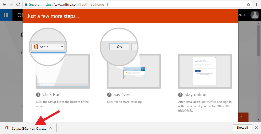 Download and installation of the Office 365 package for